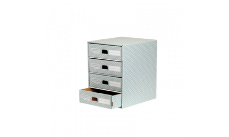 Fellowes Style 4 Drawer Unit, Green / White, Fastfold. 100% Recycled (New Lower Price for 2021)