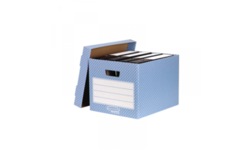 Fellowes Style Fastfold Storage Box, 100% Recycled, Blue / White - Pack of 4. (New Lower Price for 2021)