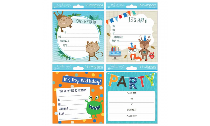 Just to Say Party Invitations, Boys Designs, 4 Asstd, Pack of 16