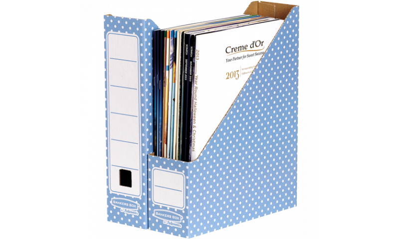 Fellowes Style Magazine File, 100% Recycled, Blue / White - Pack of 10 (New Lower Price for 2021)
