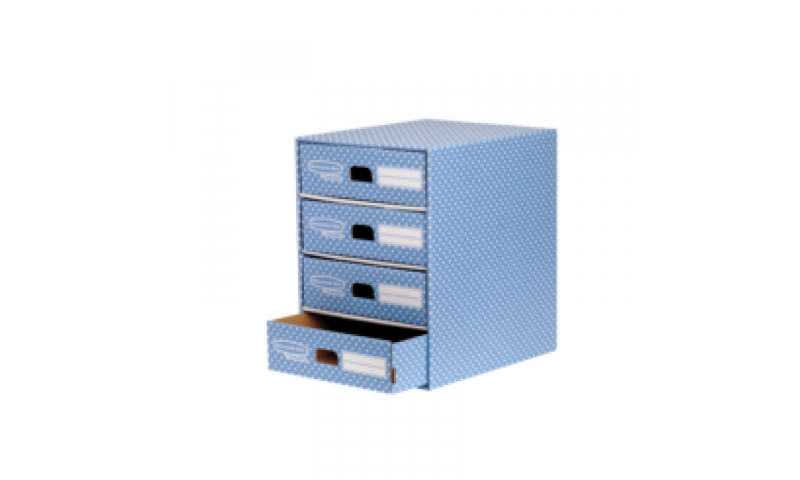 Fellowes Style Fastfold 4 Drawer Unit, Blue / White. 100% Recycled (New Lower Price for 2021)