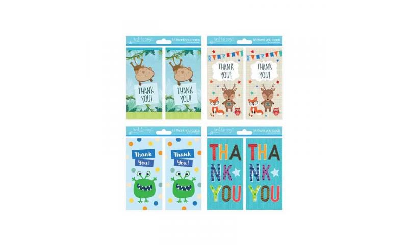 Boys Thank You Cards 4 Asstd, 16 Pack & Envelopes