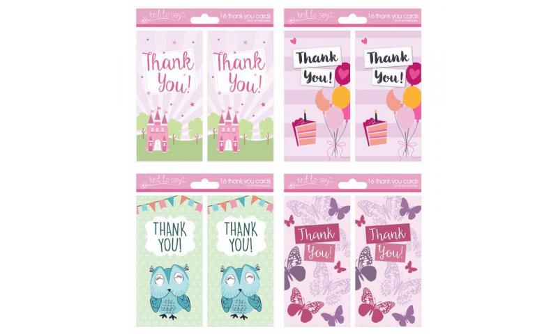 Girls Thank You Cards 4 Asstd, 16 Pack & Envelopes