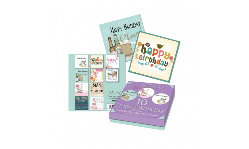 Just to Say Birthday Cards, Pack of 8 adult Assorted, In Pres Box. (New Reduced Price for 2020)