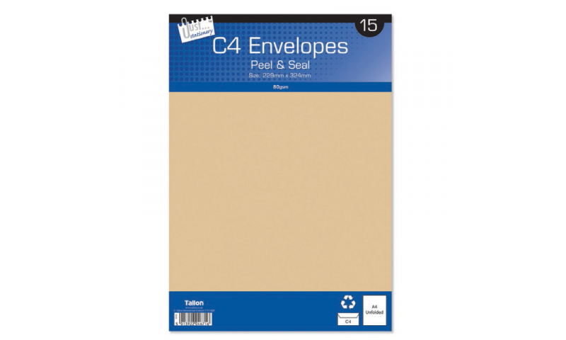 Just Stationery C4 Manilla Peel & Seal envelopes - pack of 15
