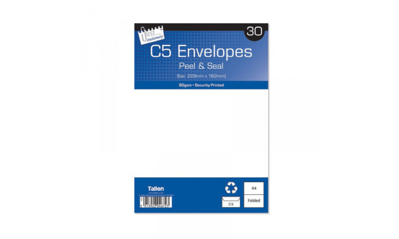 Just Stationery C5 White Peel & Seal envelopes - pack of 30 (New Lower Price for 2021)