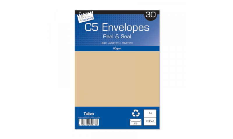 Just Stationery C5 Manilla Peel & Seal envelopes - pack of 30