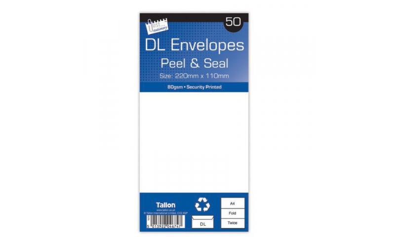 Just Stationery DL White Peel & Seal envelopes - pack of 50