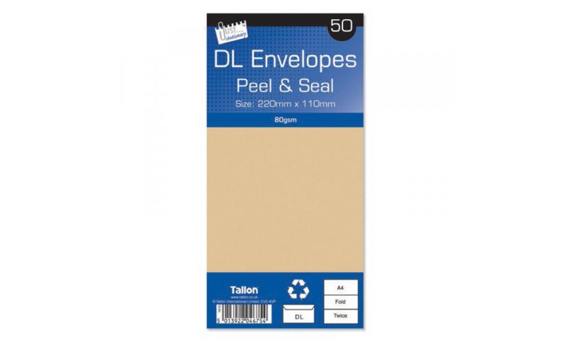 Just Stationery DL Manilla Peel & Seal envelopes - pack of 50