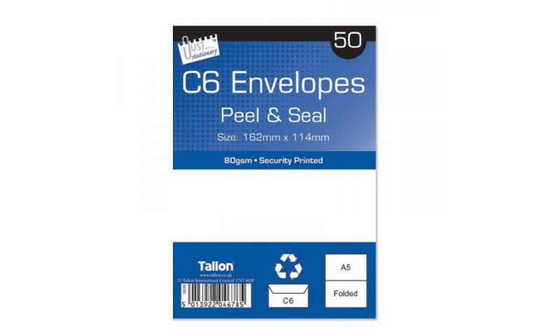 Just Stationery C6 White Peel & Seal envelopes - pack of 50