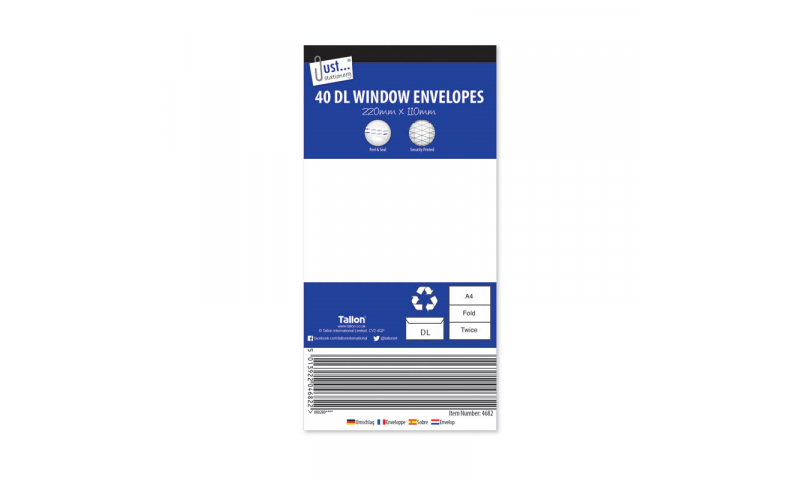 Just Stationery DL White Window Peel & Seal envelopes - pack of 40