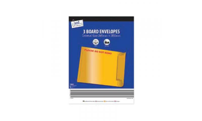 Just Stationery Rigid Boardback Envelopes 260x350mm Pack 3