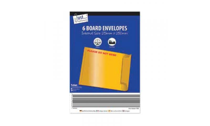 Just Stationery Rigid Boardback Envelopes 170x250mm Pack 6