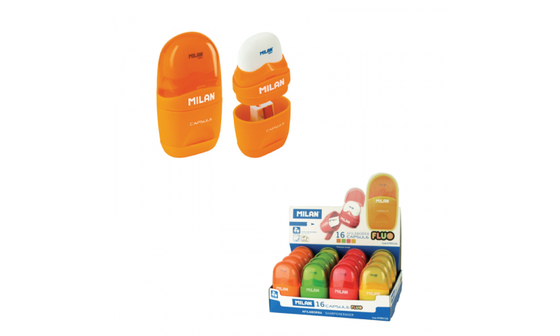 Milan Capsule Sharpeneraser - Fluorescent, 4 Asstd in CDU  (New Lower Price for 2021) While stocks last only!