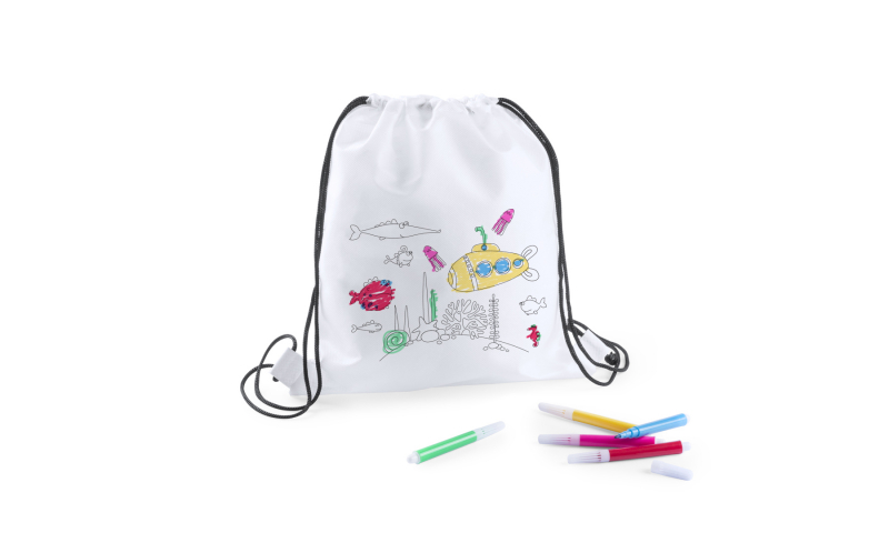 Kids Colour your own Drawstring Bag with Fibre Pens or Crayons, 2 asstd