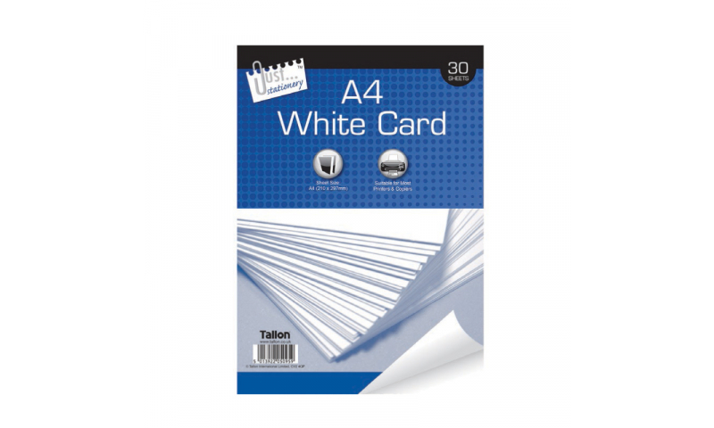 Just Stationery A4 White Card 150g, 30 Sheets