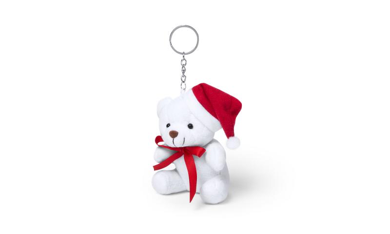 Xmas White Teddy Keyring Soft Toy