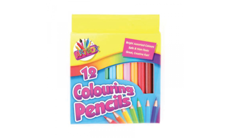 ArtBox 12 pack Colouring Pencils, Hangpacked Half Length (New Lower Price for 2021)
