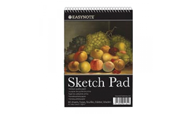 Easy Note A4 Artists Spiral Sketchpad, 40 Sheets, 170g Cartridge Paper