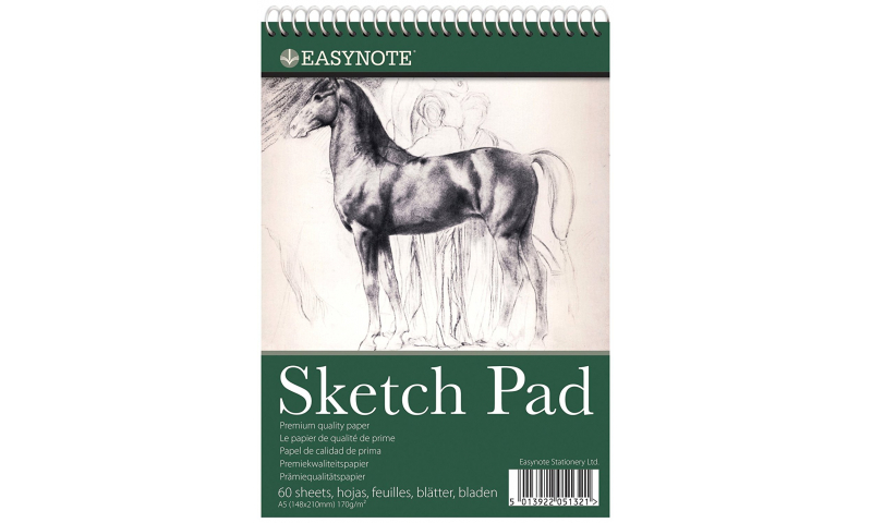 Easy Note A5 Artists Spiral Sketchpad 60 Sheets, 170g Cartridge Paper