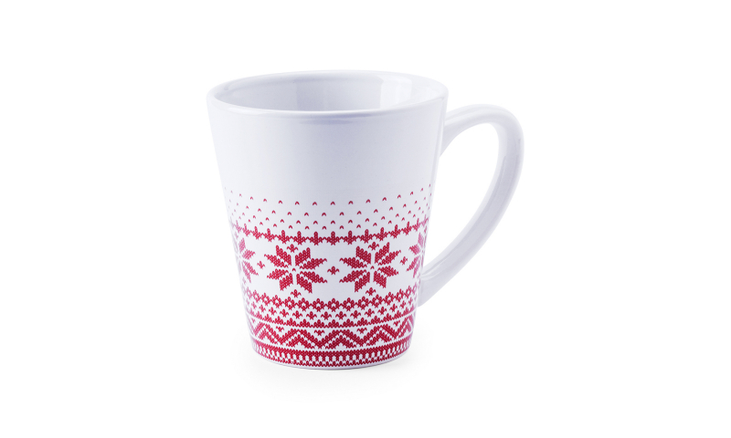 Xmas Snoflake White Ceramic Mug with Festive Design