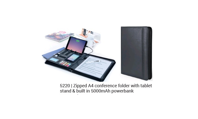Ëynsteyn Zipped A4 Conference Folder with Tablet Stand & built in Wireless 5000mah Powerbank, Cable inc.