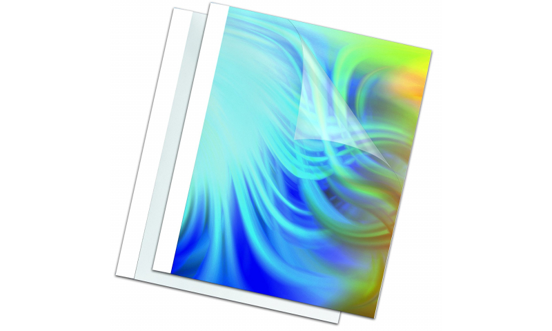 Fellowes Thermal Bind Covers White/Clear 1.5mm Binds 1-8 Sheets, Box 100