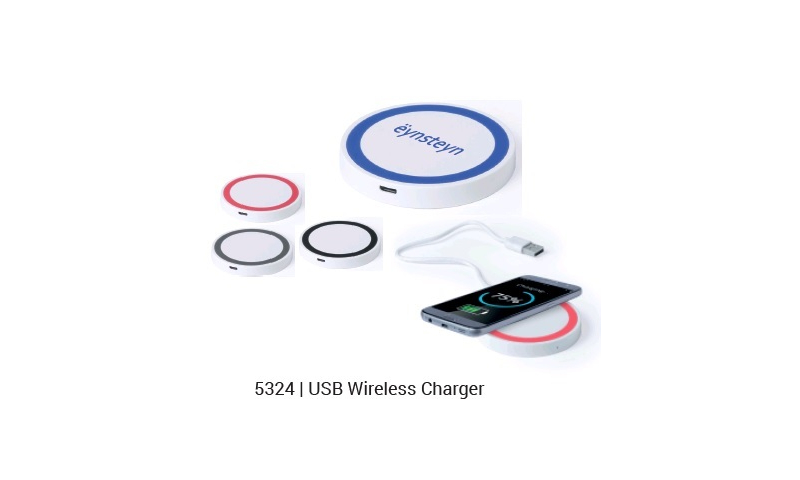 Ëynsteyn USB Powered Wireless Charger, Circular, 3 Asstd Colours, with Power cable
