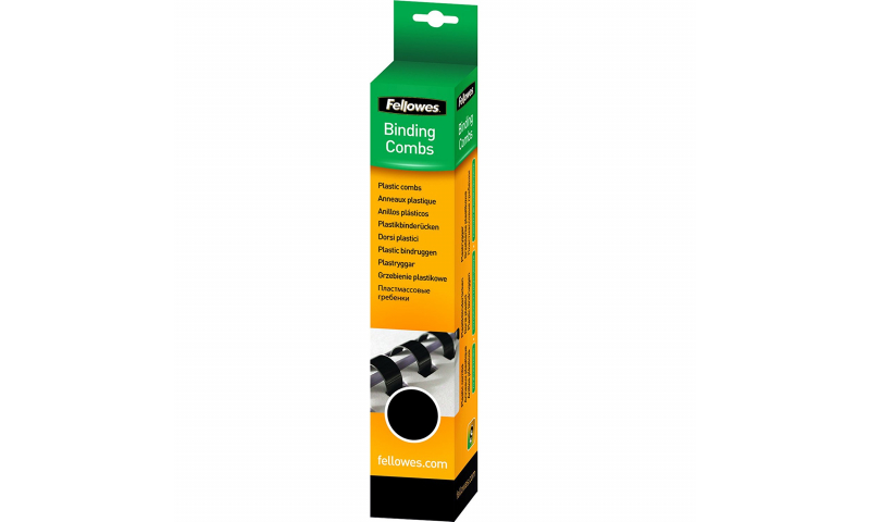 Fellowes Plastic Comb 6mm Black A4 Retail - Pack of 25. (New Lower Price for 2021)
