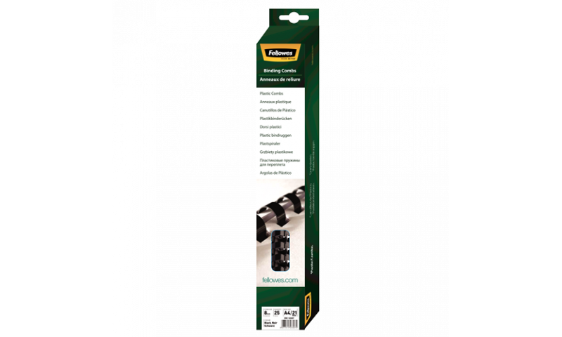Fellowes Plastic Comb 8mm Black A4 Retail - Pack of 25. (New Lower Price for 2021)