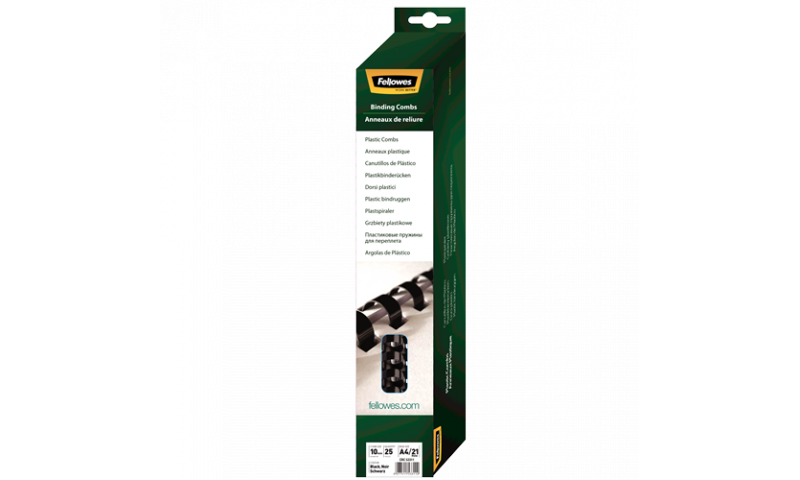 Fellowes Plastic Comb 10mm Black A4 Retail - Pack of 25. (New Lower Price for 2021)
