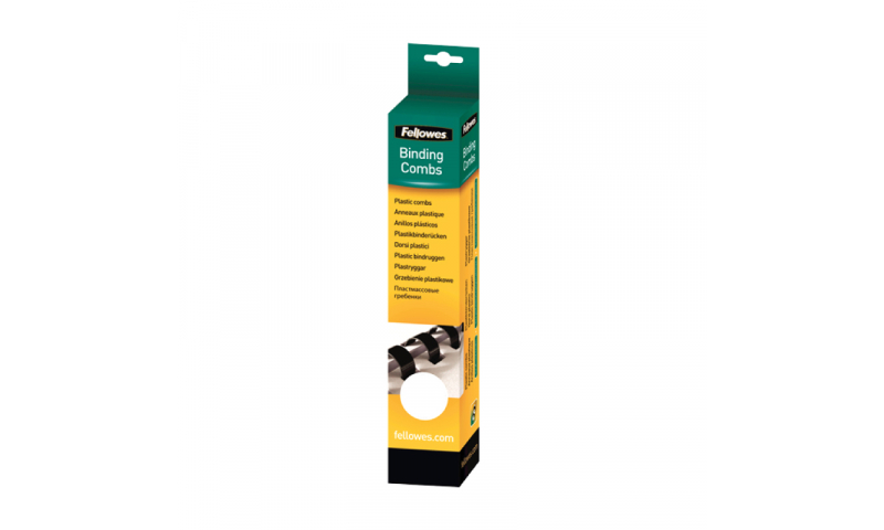 Fellowes Plastic Comb 12mm Black A4 Retail - Pack of 25.