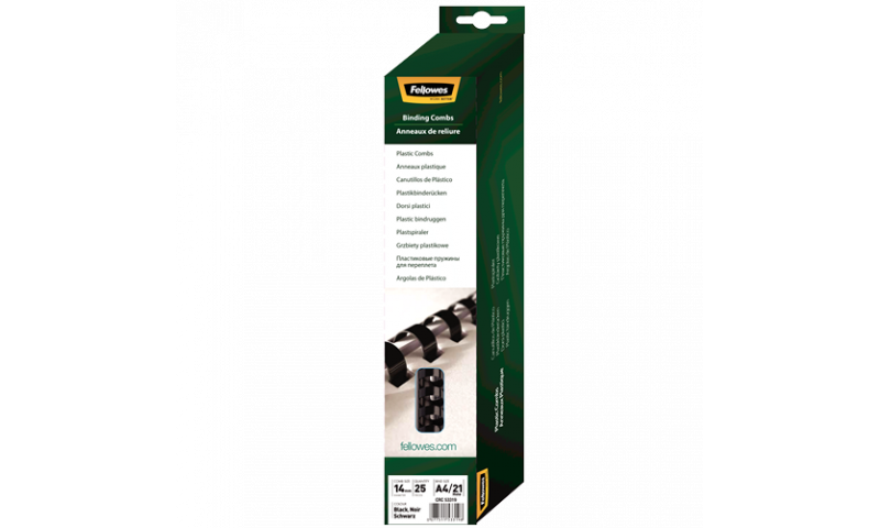 Fellowes Plastic Comb 14mm Black A4 Retail - Pack of 25. (New Lower Price for 2021)