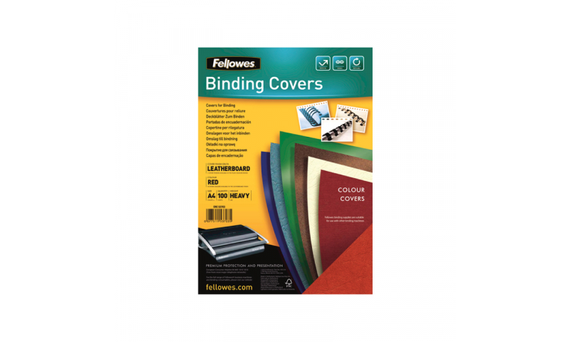 Fellowes A4 Red Leathergrain FSC Covers - Pack 100 (New Lower Price for 2021)