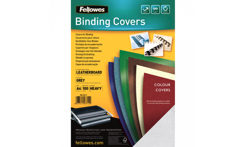 Fellowes A4 Grey Leathergrain FSC Covers - Pack 100 (New Lower Price for 2021)
