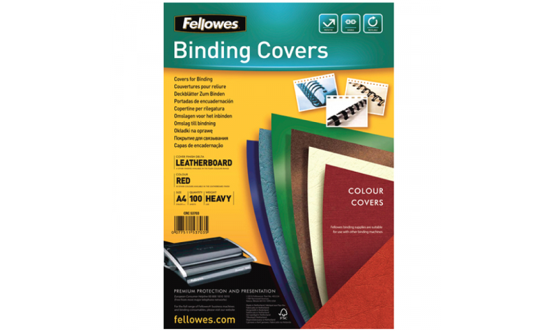 Fellowes A4 Dark Green Leathergrain FSC Covers - Pack 100 (New Lower Price for 2021)