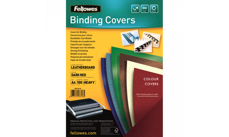 Fellowes A4 Dark Red/Burg Leathergrain FSC Covers - Pack 100 (New Lower Price for 2021)