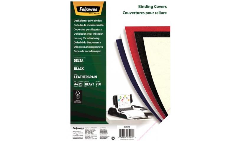 Fellowes A4 Leathergrain FSC Binding Cover Black, Retail 25pk
