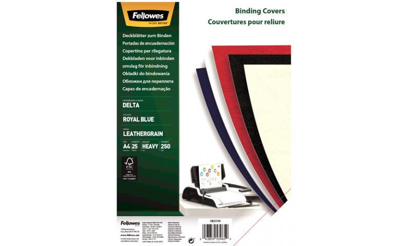 Fellowes A4 Leathergrain FSC Binding Cover Blue, Retail 25pk