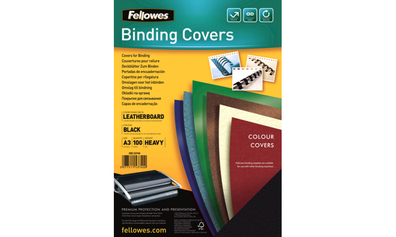 Fellowes A3 Black Leathergrain FSC Covers - Pack 100 (New Lower Price for 2021)