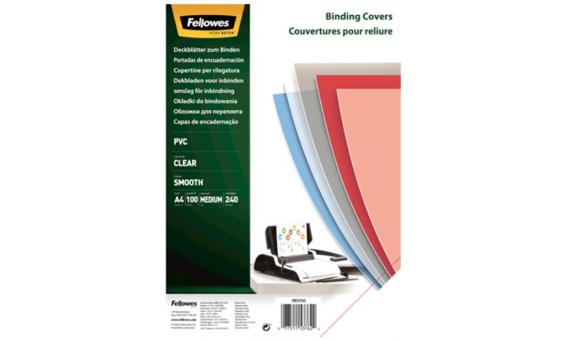 Fellowes A4 Clear Binding Covers Heavyweight 240mic, Pack of 100