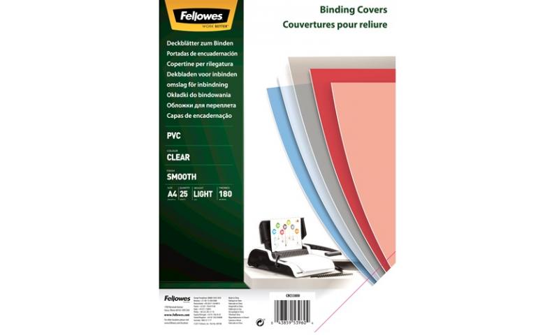 Fellowes A4 Clear PVC Binding Covers 180mic, Retail 25pk