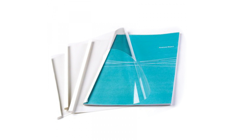 Fellowes Thermal Bind Covers White/Clear 8mm, Binds 61-80 Sheets, Box 100
