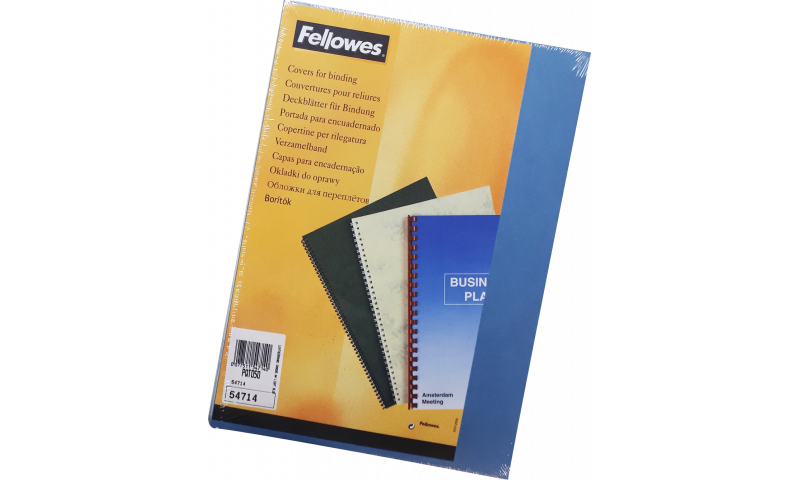 Fellowes Leathergrain A4 Binding Covers, Pack of 25 Pairs with Front window cut, Mid Blue