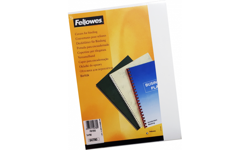 Fellowes A4 Binding Covers White, Pack of 25 Pairs with Front Window Cut