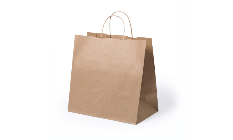 Eco Paper Bag, Rope Handles & Wide Gusset TAKE AWAY, Size: 30 x 29 x 18cm