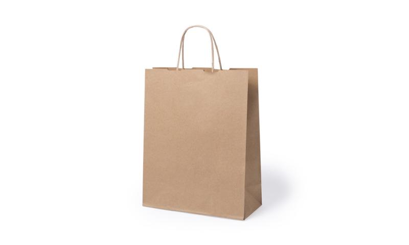 Eco Paper Bag, Rope Handles & Gusset.  Size: 25 x 31 x 11cm