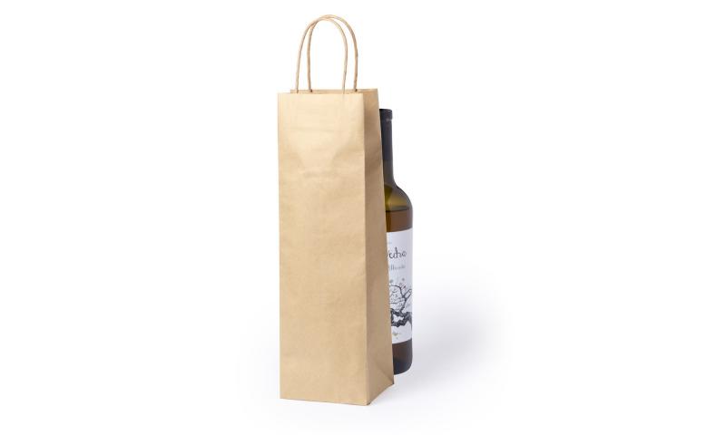 Eco Paper Bottle Bag, Rope handles. Size: 11 x 36 x 10 cm