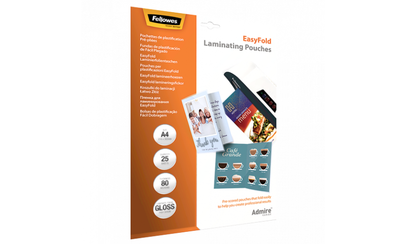 Fellowes Admire Easyfold Lamination Pouches A4, 80mic, 25 Pack