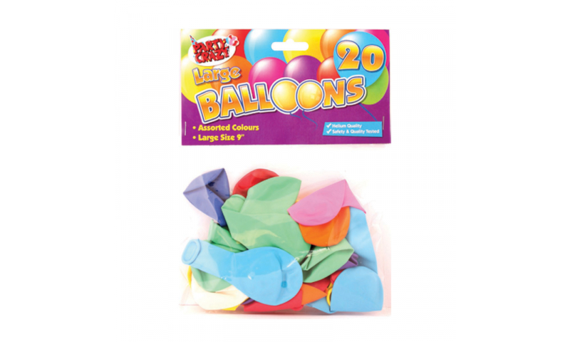 """Party Crazy Balloons, Large 9"""", Pack of 20, Helium Quality"""